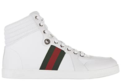 490fd5637 Gucci Men's Shoes high top Leather Trainers Sneakers Praga White UK Size 9  221825 ADFX 09060