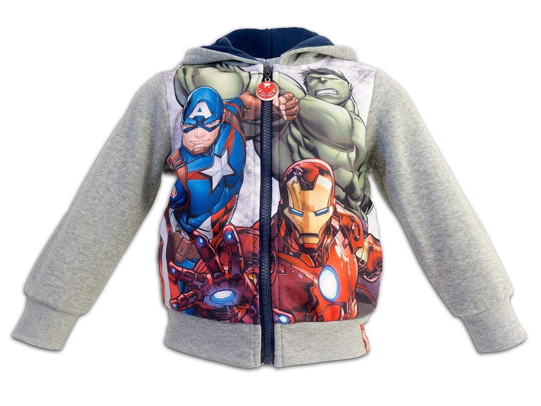 Marver Avengers - Felpa con Cappuccio e Zip Full Print Con Bordi Elastici e Tasche - Bambino - Novità Prodotto Originale 6801HR