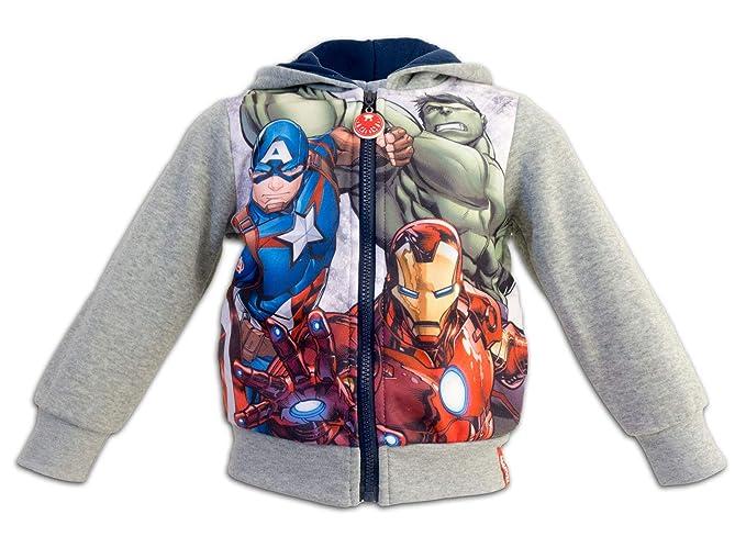 Marver Avengers - Felpa con Cappuccio e Zip Full Print Con Bordi Elastici e  Tasche - 054c5eda21aa