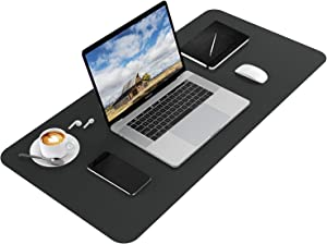 Ktrio Office Desk Pad Large Desk Mat Protector, PU Leather Desk Blotter Pad, Mouse Pad Waterproof Full Desk Cover Mat, Ultra-Thin Writing Mat for Laptop Office & Home, 35.4 x 17 x 0.08 inches, Black
