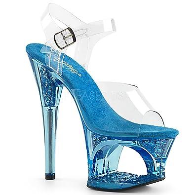 098d2ee40112 Pleaser Womens MOON-708GFT C BLU Sandals Clear Blue