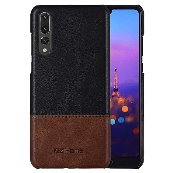 new concept 3ef19 15b6b Huawei P20 Pro Case,Two Colors Vintage Genuine Leather Back Cover for  Huawei P20 Pro (Black)