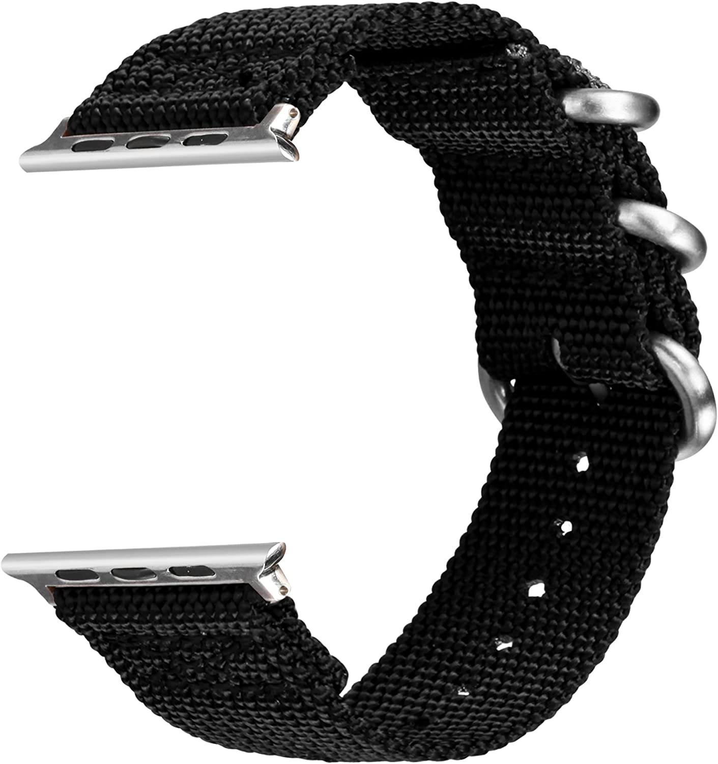 VIGOSS Band for 44mm Apple Watch Bands 42mm, Woven Nylon NATO iWatch Bands Soft Replacement Strap with Metal Ring Buckle Bracelet for Apple Watch Series 4 3 2 1 Sport Men (Black,42mm/44mm)