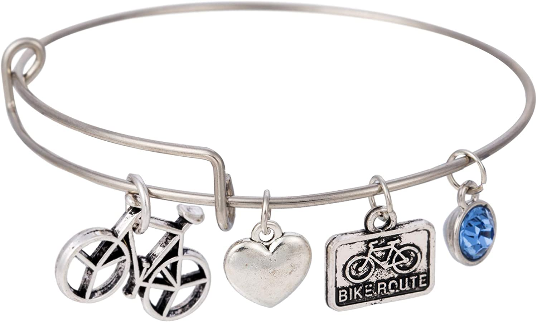 cooltime - Pulsera de Alambre con Colgante de corazón con Piedra de Nacimiento para Bicicleta