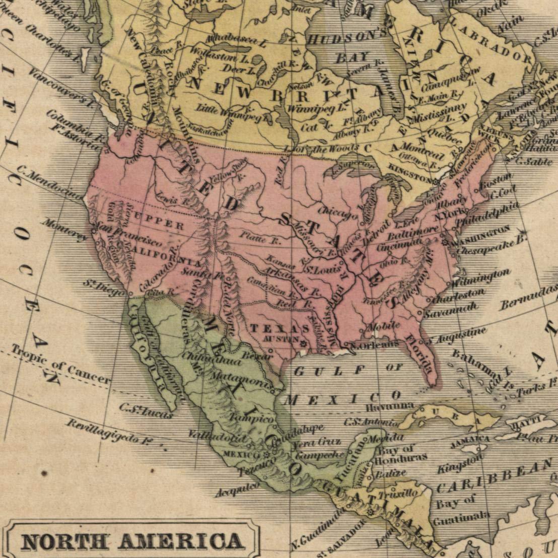 Color Map Of North America.Amazon Com North America Texas Territorial West 1853 Boynton Small