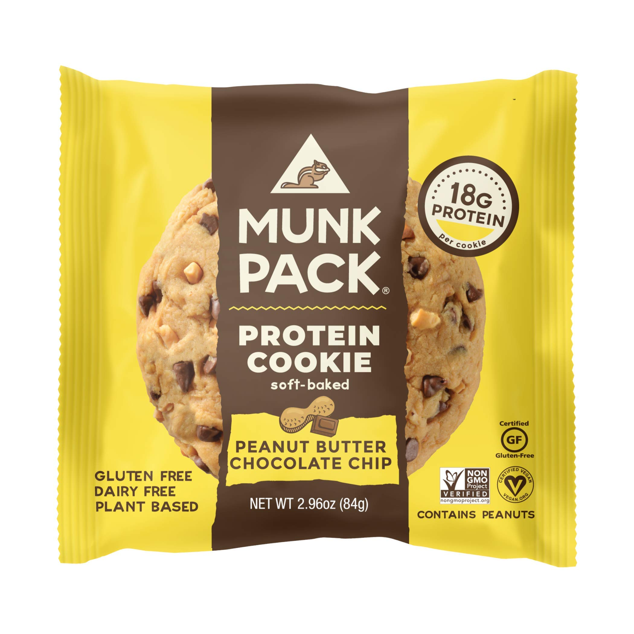 Munk Pack Vegan Protein Cookie | 18 Grams of Protein | Vegan, Gluten-Free, Dairy-Free, Soy-Free, Soft Baked | 2.96oz (Peanut Butter Chocolate Chip, Pack of 12)