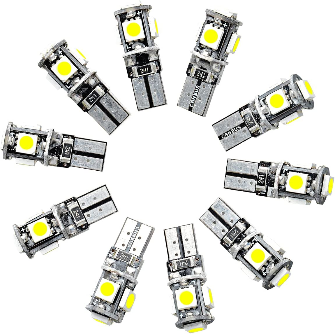 4 X T10 Car Bulb w5w 501 LED Interior Side Lights 5 SMD 5050 CANBUS Error Free