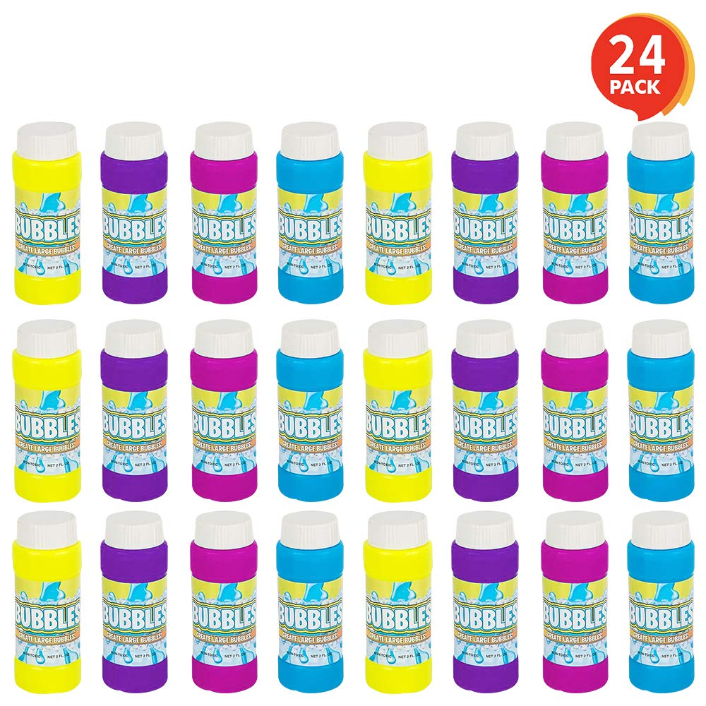 ArtCreativity 3.5 Inch Bubble Blower Bottles with Wands - 24 Pack - Bubble Toy for Kids with 2oz of Solution - Outdoor Summer Fun - Birthday Party Favors, Supplies for Boys and Girls - Assorted Colors by ArtCreativity