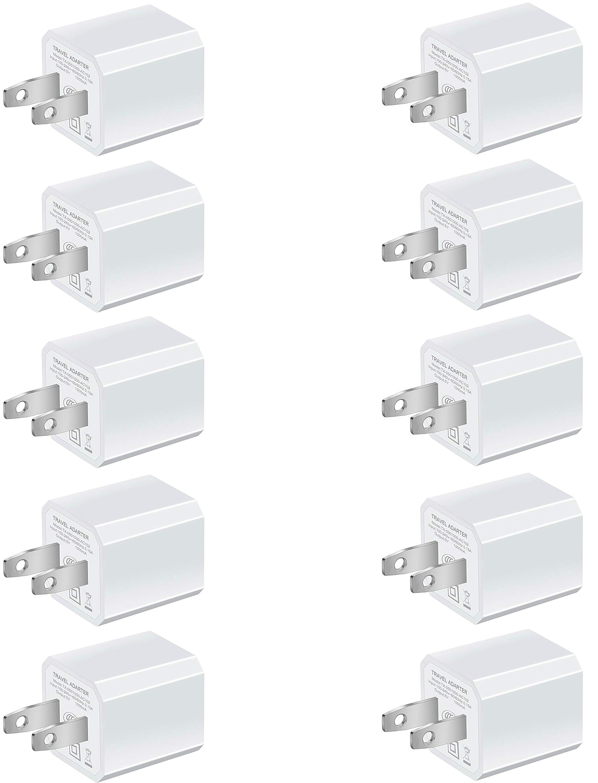 Boost Chargers 5W USB Power Adapter [10-Pack] Wall Charger 1A Cube for Plug Outlet Compatible for iPhone 8 / X / 7 / 6S / Plus +, iPad, Samsung Galaxy, Motorola, HTC, Other Smartphones (White) by Boost