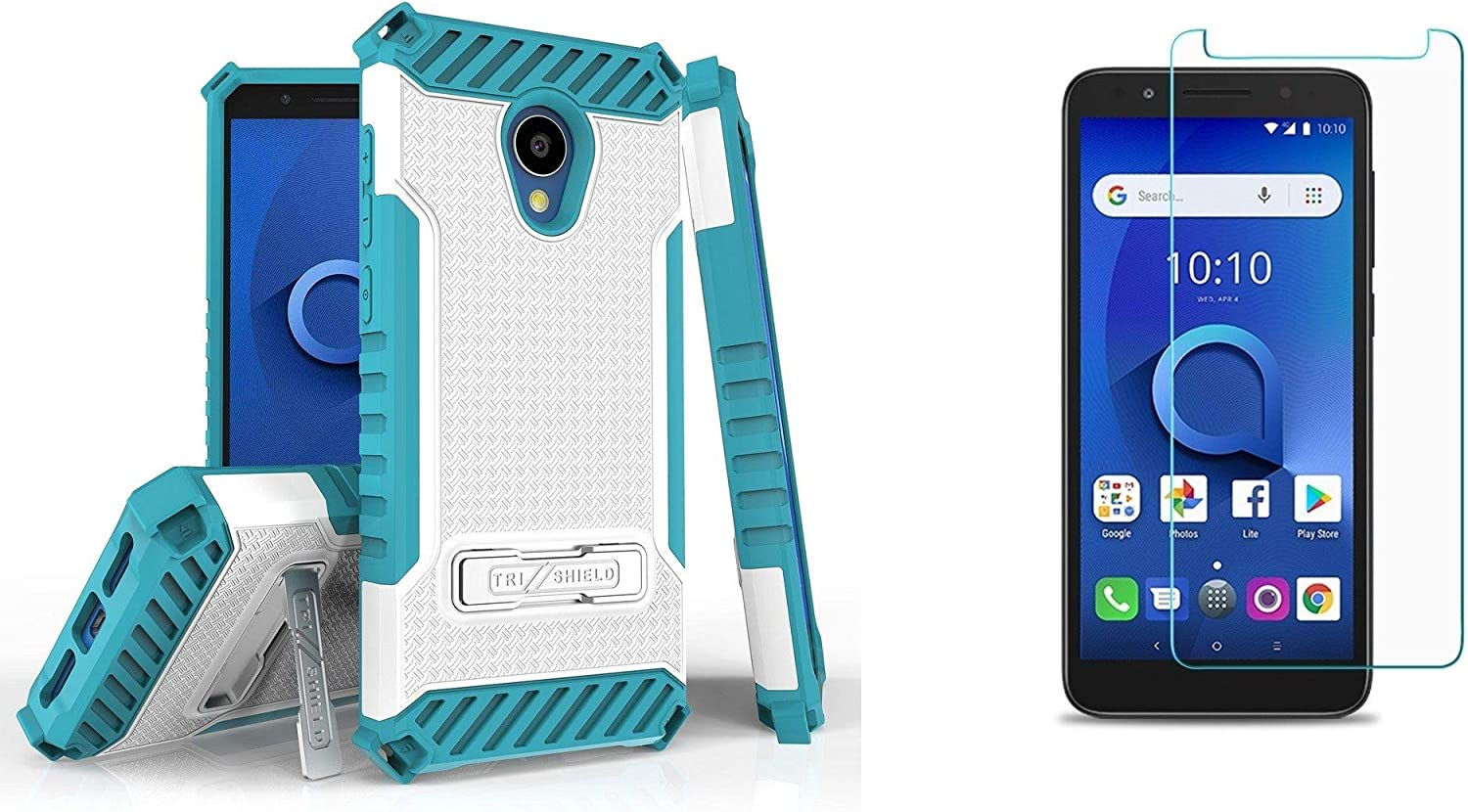 1X Evolve idealXTRA Military Grade Shockproof Slim Cover TCL LX Case Tempered Glass Screen Protector and Atom Cloth BC TriShield Series Compatible with Alcatel Avalon V White//Teal