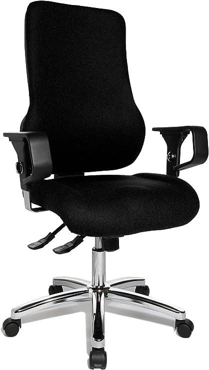 Topstar Sitness 55, Fitness Drehstuhl, Bürostuhl, Schreibtischstuhl, inkl. höhenverstellbare Armlehnen, Bezugsstoff, schwarz