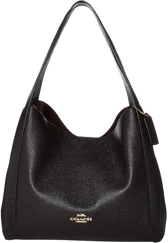 COACH Women's Polished Pebble Leather Hadley Hobo, Black/Gold, One Size