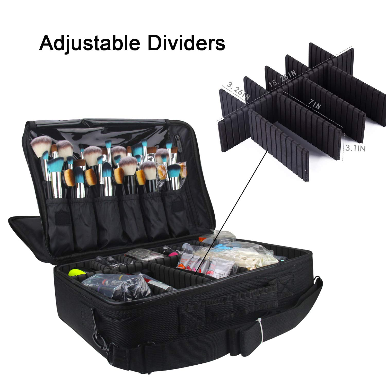 9af47c8024cb Amazon.com : Relavel Professional Makeup Train Case Cosmetic Bag Brush  Organizer and Storage 16.5