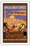Simplon Orient Express - Londres-Constantinople - Paris-Lyon-Méditerranée (PLM) - Affiche ancienne vintage poster de voyage en train chemin de fer de Roger Broders c.1922 - Prime 290gsm Giclée Imprime - 61cm x 91cm
