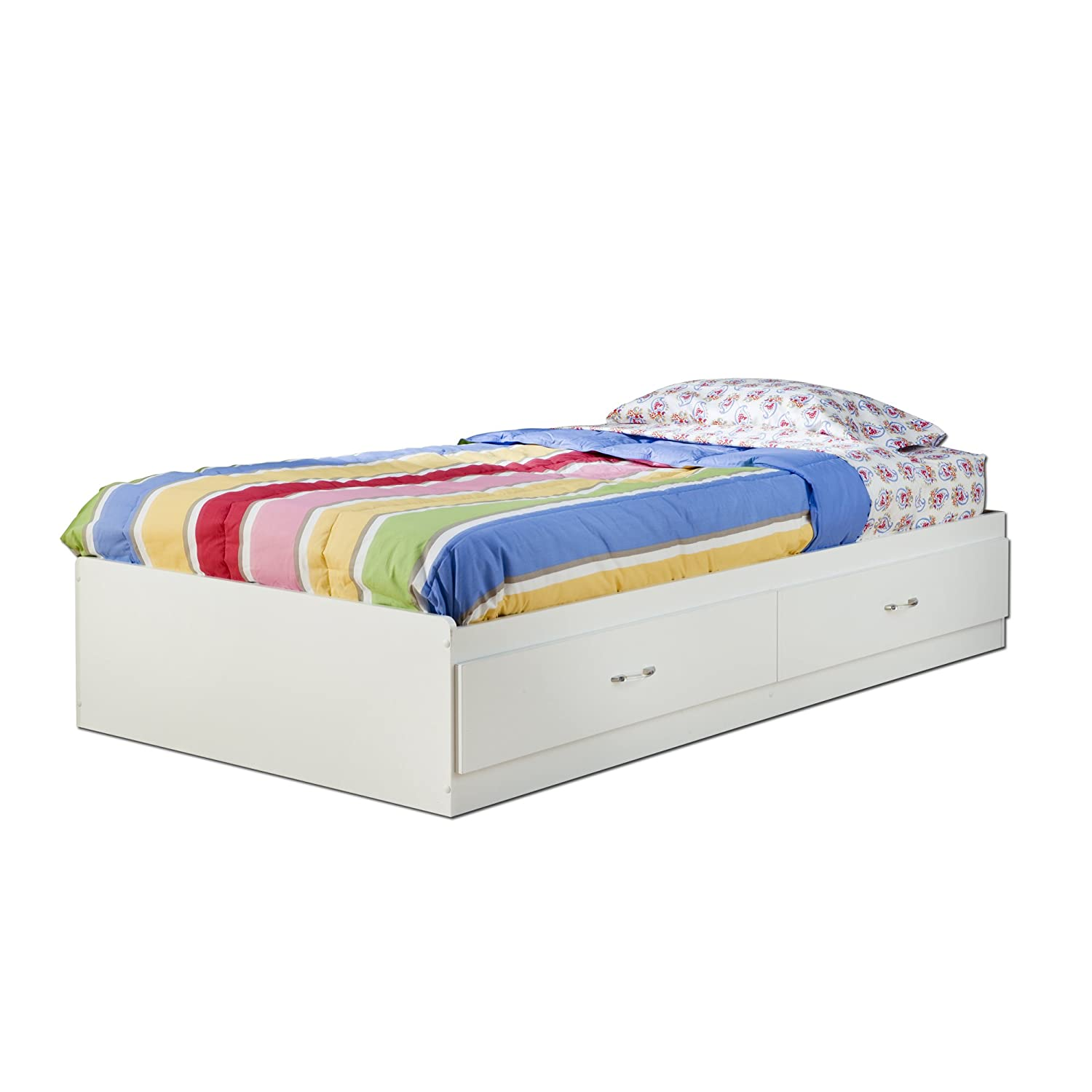 Amazon South Shore Logik Collection Twin Mates Bed Pure White