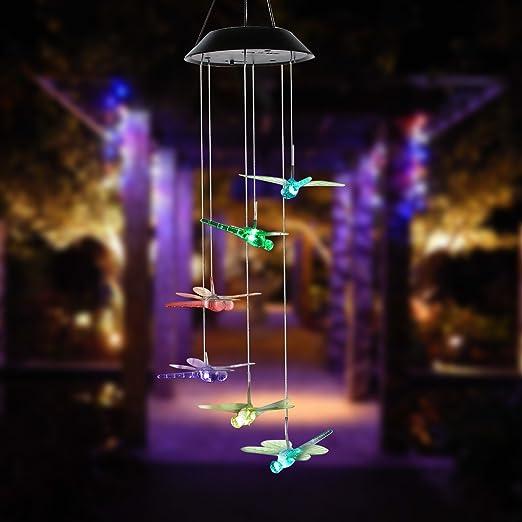 De color cambiante LED Solar móvil de viento, funciona con energía solar LED lámpara de techo colgante luz de viento, viento, para interior y exterior para casa patio jardín decoration-dragonfly: Amazon.es: Jardín