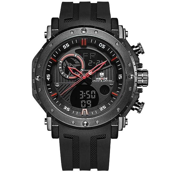2018 nuevo hombre Relojes Negro, mimbre Señor Reloj de pulsera Silicona Analógico Digital: Amazon.es: Relojes
