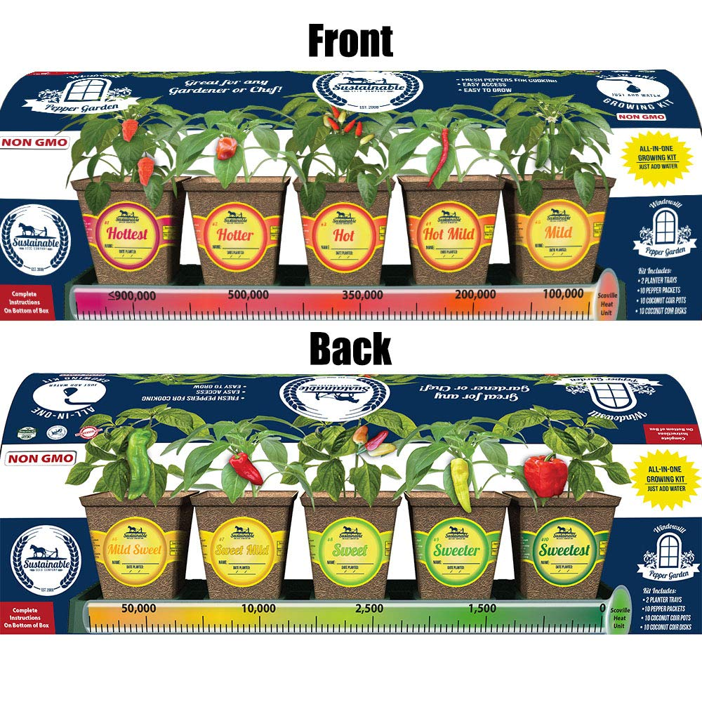 Windowsill Pepper Garden Kit, Pepper Planter Comes Complete with a 10 Variety Non GMO Heirloom Pepper Seed Collection & Pepper Pots by Sustainable Seed Company (Image #3)