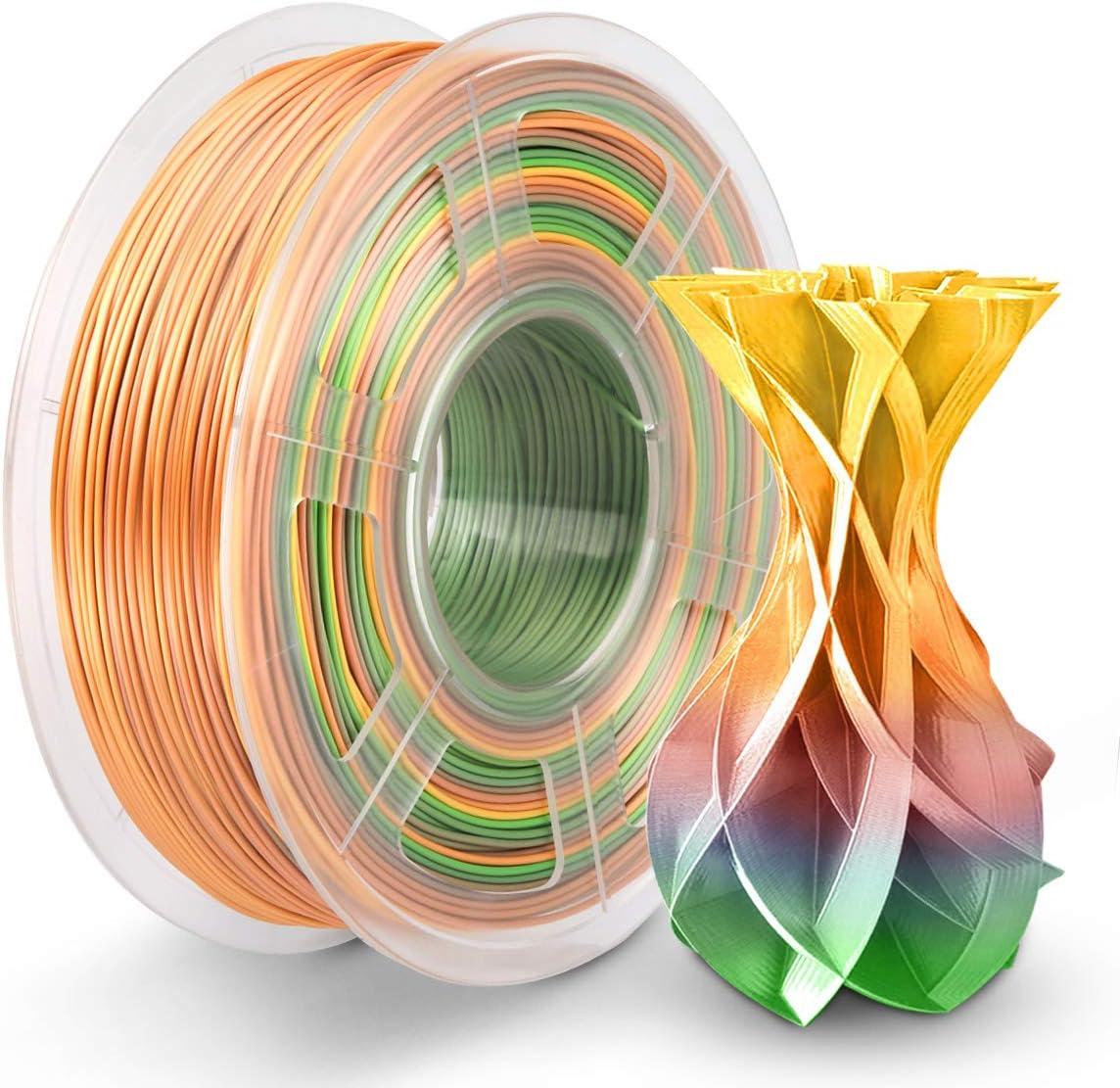 PLA Silk Rainbow Filament 1.75mm, PLA Filament Imprimante 3D 1KG Brilliant Multicolore Arc Ciel Effetr Soie