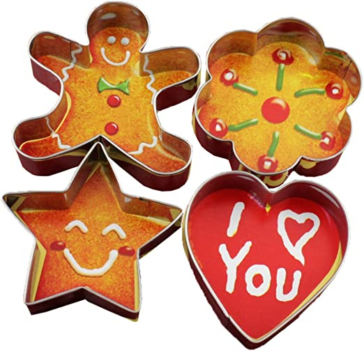 Xmas Gingerbread Man, Plum, Star and Heart Forvel Stainless Steel Christmas Theme Cookie Cutters Biscuit Pastry Fondant Cake Decorating Mold Set