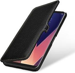 StilGut Book Type Case, Custodia per LG V30 e LG V35 ThinQ Cover a Libro in Pelle, Nero con Clip