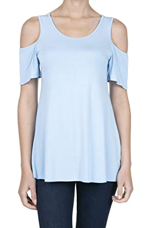 7649880a88b596 SHOP DORDOR 8008 Women's Short Sleeve Casual Cold Shoulder Tunic Tops Loose  Blouse Shirts Babyblue XS