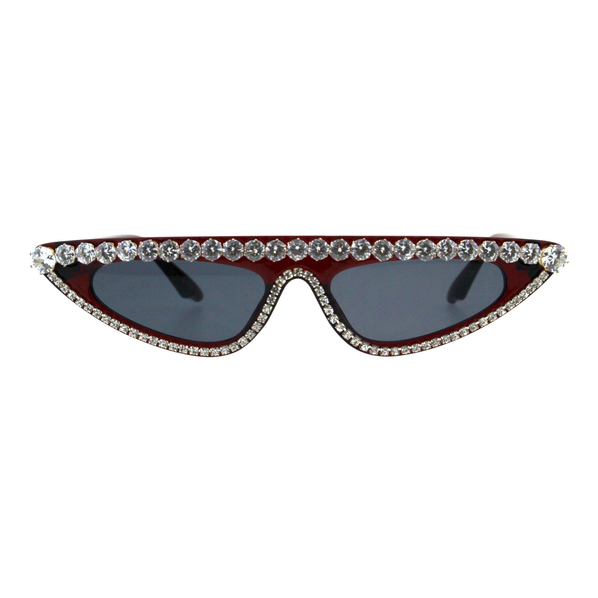Womens Large Rhinestone Bling Flat Top Narrow Cat Eye Goth Sunglasses Burgundy