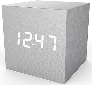 MiCar Digital Alarm Clock, LED Light Mini Modern Cube Desk Alarm Clock Displays Time Date Temperature for Kids, Bedrooms, Home, Dormitory, Travel (Light Grey)