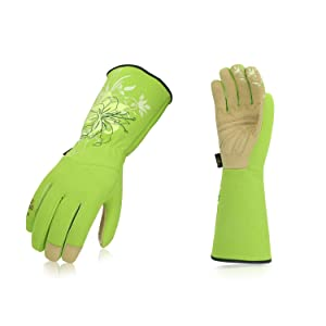 Vgo Ladies' Synthetic Leather Long Cuff Rose Garden Gloves(1Pair,Size M,Green,SL7445)