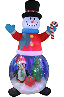 8 foot tall christmas inflatable snowman globe with penguins and gift box christmas tree decor outdoor
