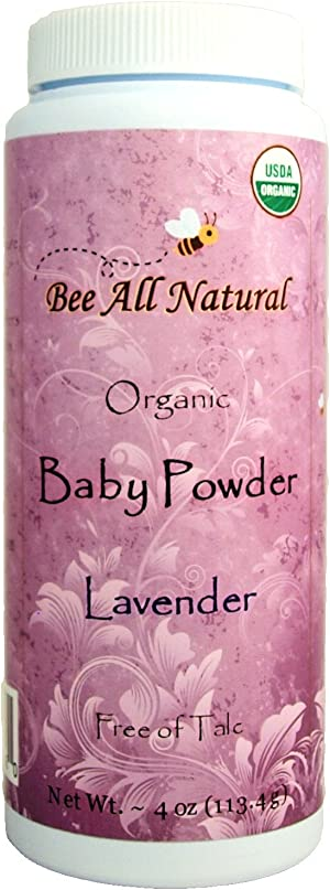 Bee All Natural Organic Baby Powder, Talc-Free, 4-Ounce Bottle…. Gluten Free & USDA Organic
