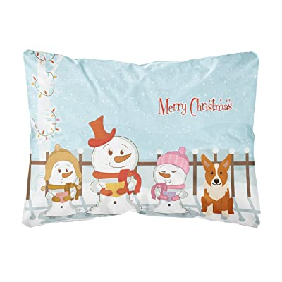 Caroline's Treasures BB2431PW1216 Merry Christmas Carolers Corgi Canvas Fabric Decorative Pillow, 12H x16W, Multicolor : Garden & Outdoor