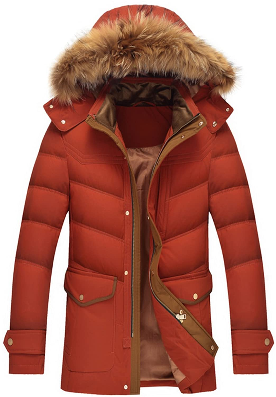 WS668 Winter Mens Warm Coat Hooded Fur Collar Long Thick 90%Duck Down Blazers Overcoat