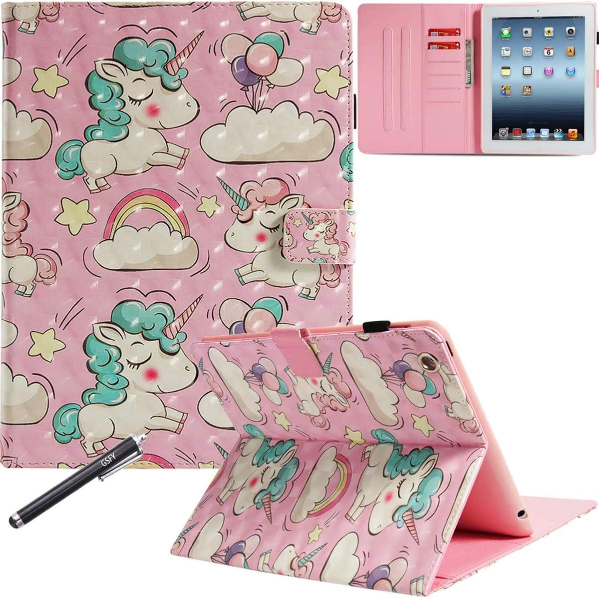 iPad 2/3/4 Case - Newshine PU Leather Stand Folio Cover with Auto Wake/Sleep Card Slots for 9.7 Inch (Old Model) Apple iPad 2, iPad 3 & iPad 4th Gen with Retina Display - Blue Unicorn