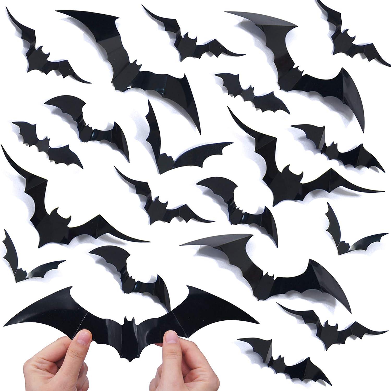 72 PCS Halloween Bats Stickers 4 Different Sizes Realistic Bat Sticker for Halloween Decorations Indoor Halloween 3D Bats Decoration Halloween Wall Decorations Halloween Party Decoration Supplies