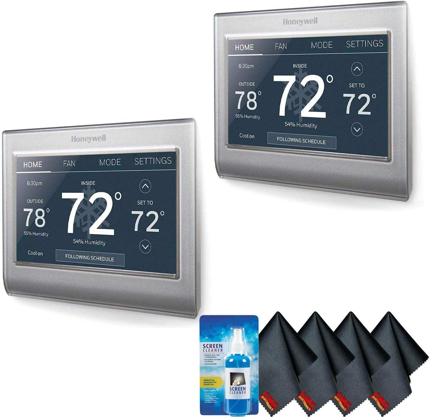 Honeywell Home RTH9585WF1004 Wi-Fi Smart Color Thermostat (2-Pack) Accessory Kit with Screen Cleaning Kit