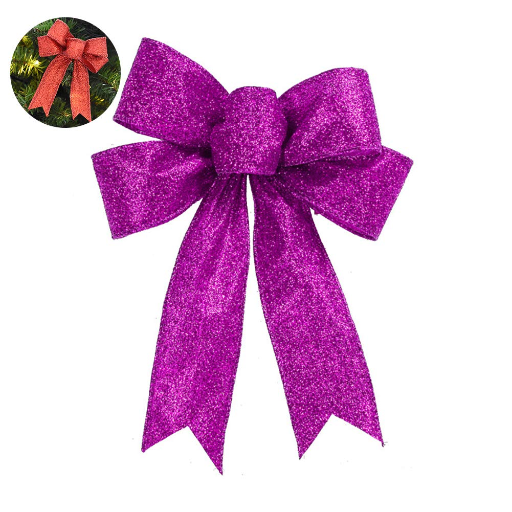YaptheS Christmas Bow Glitter Bowknot Xmas Decoration Ribbon Bow Indoor Outdoor Decoration for Garland Tree Topper Bow 5.1'' Inches - Purple Christmas Style