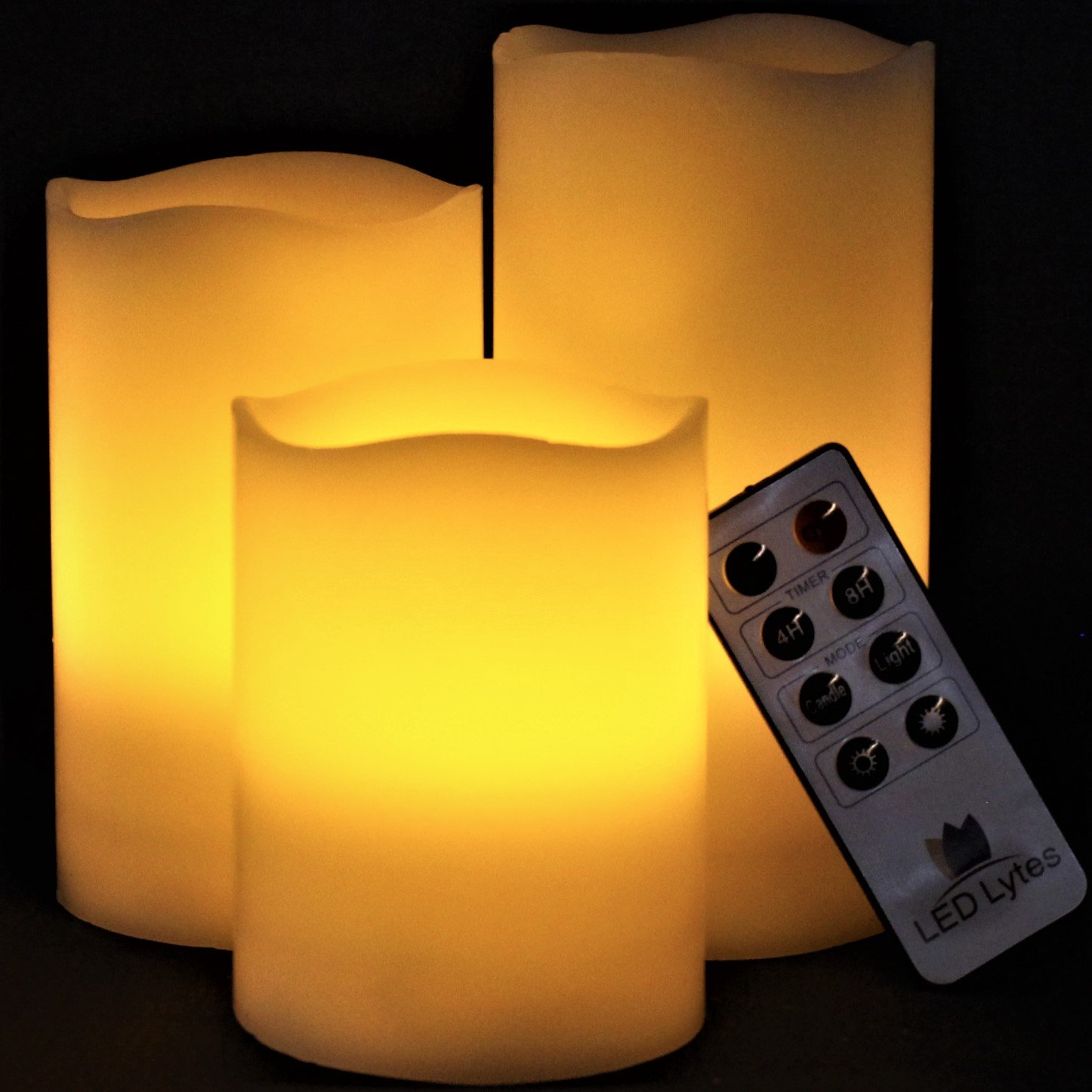 LED Lytes Flickering Flameless Candles - Set of 3 Ivory Wax Flickering Amber Yellow Flame, Auto-Off Timer Remote Control Fake Battery Operated Candles by LED Lytes (Image #2)