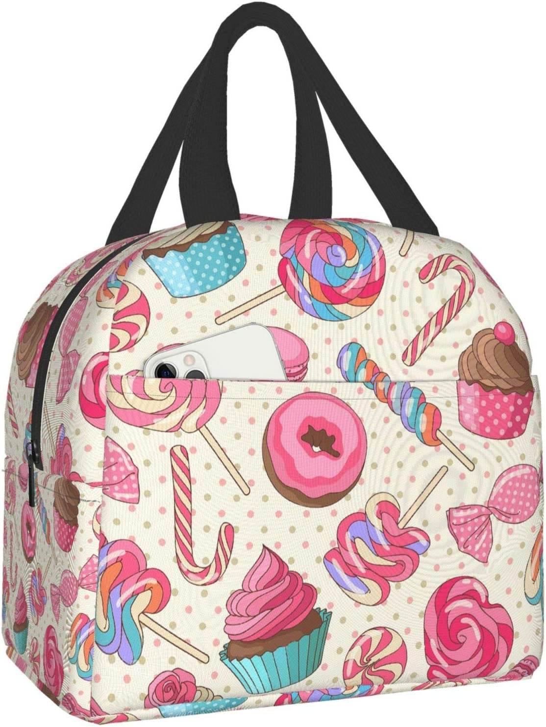 Colorful Sweet Lollipop Candy Macaroon Cupcake Donut Insulated Lunch Bag Tote Bag with Front Pockets Lunch Box Leakproof Lunch Container for Men & Women to Office Work School Picnic