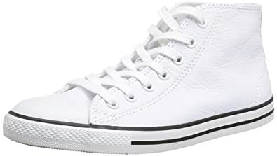 c1047c1d5793 Converse Womens As Dainty Femme Leather Mid Trainers 308580 White 7 ...