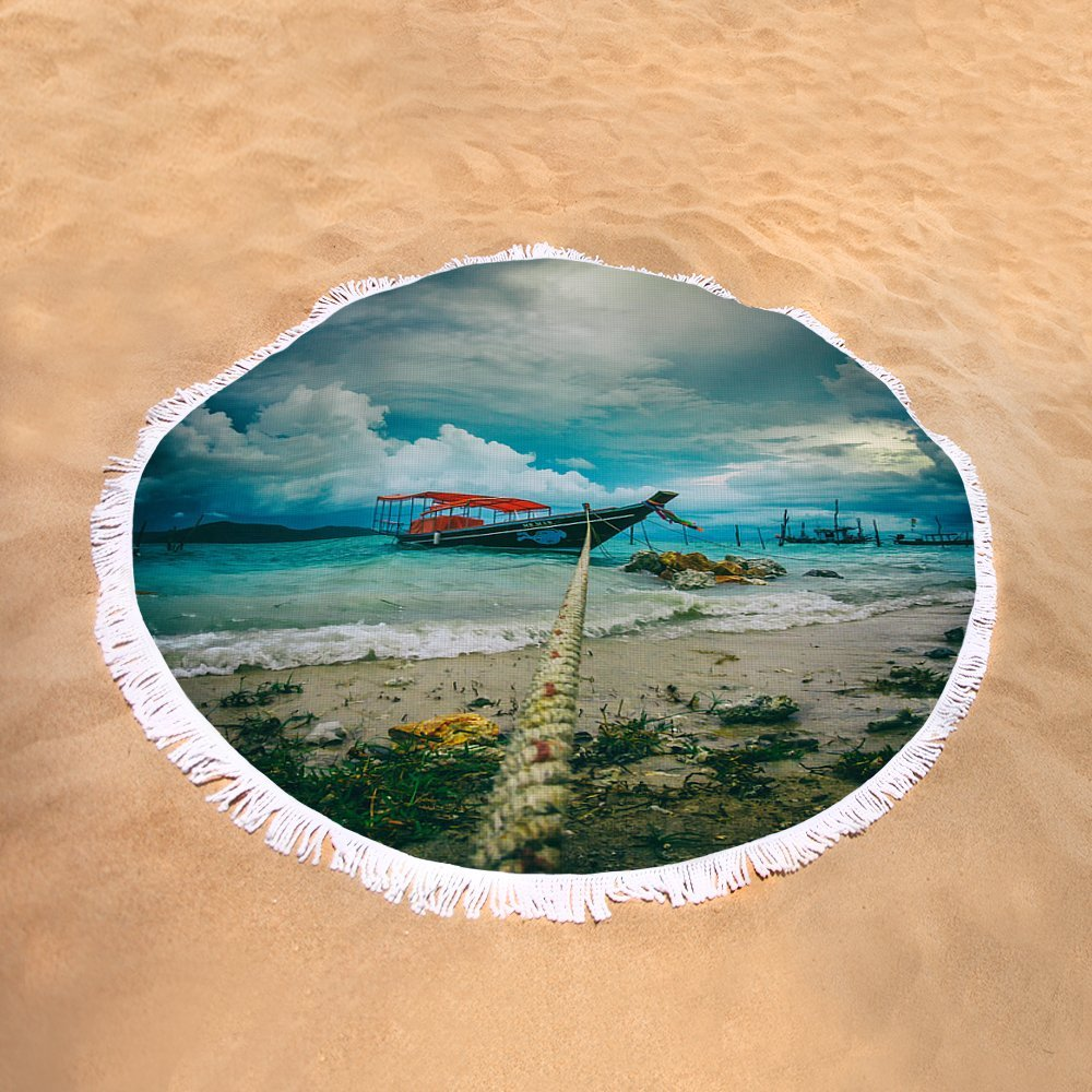 Pixels Round Beach Towel With Tassels featuring ''Time To Rest'' by Stelios Kleanthous by Pixels
