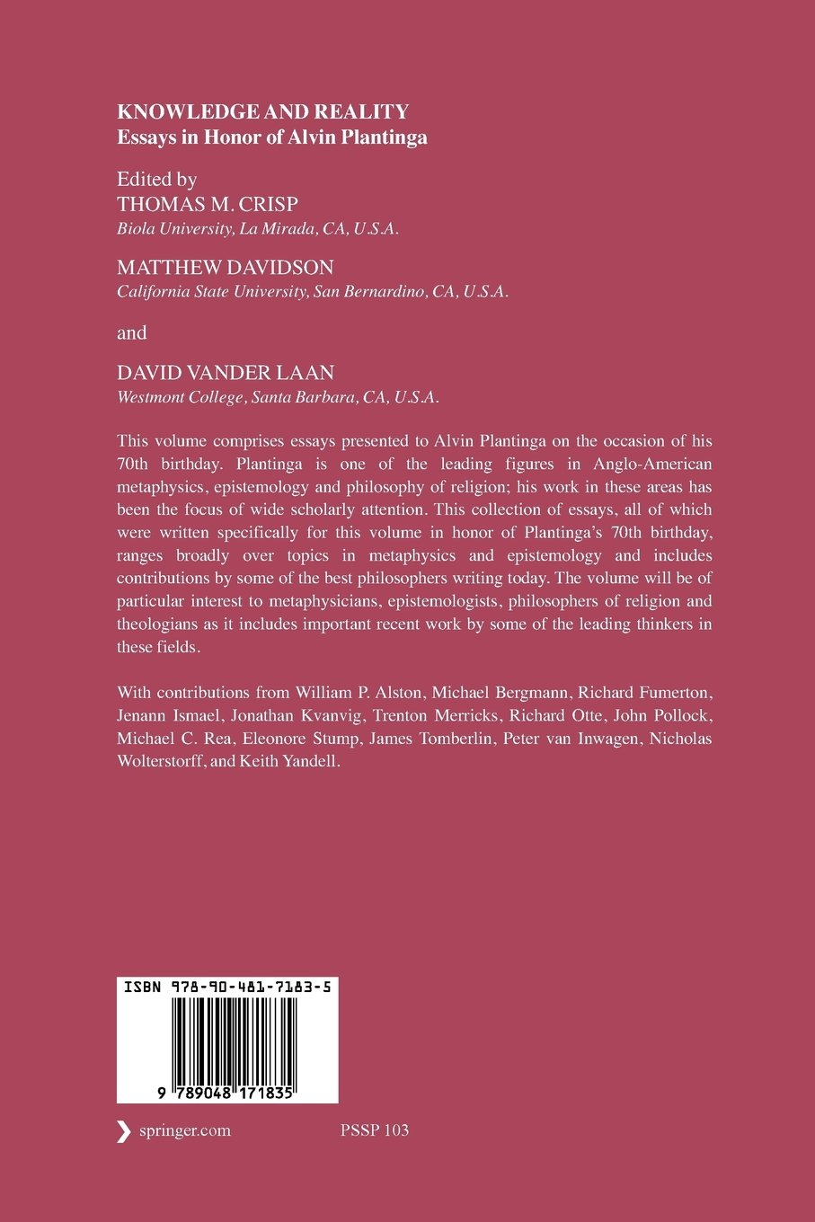 Which Knowledge And Reality Essays In Honor Of Alvin Plantinga tortilla