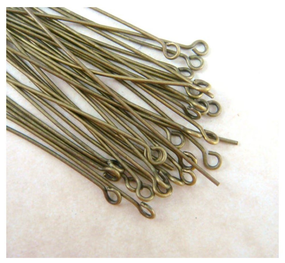 Antique Bronze Plated Brass for Jewelry Beading Craft Making CF153-35 Wire~21 GA 200pcs Top Quality 35mm Eye Pins