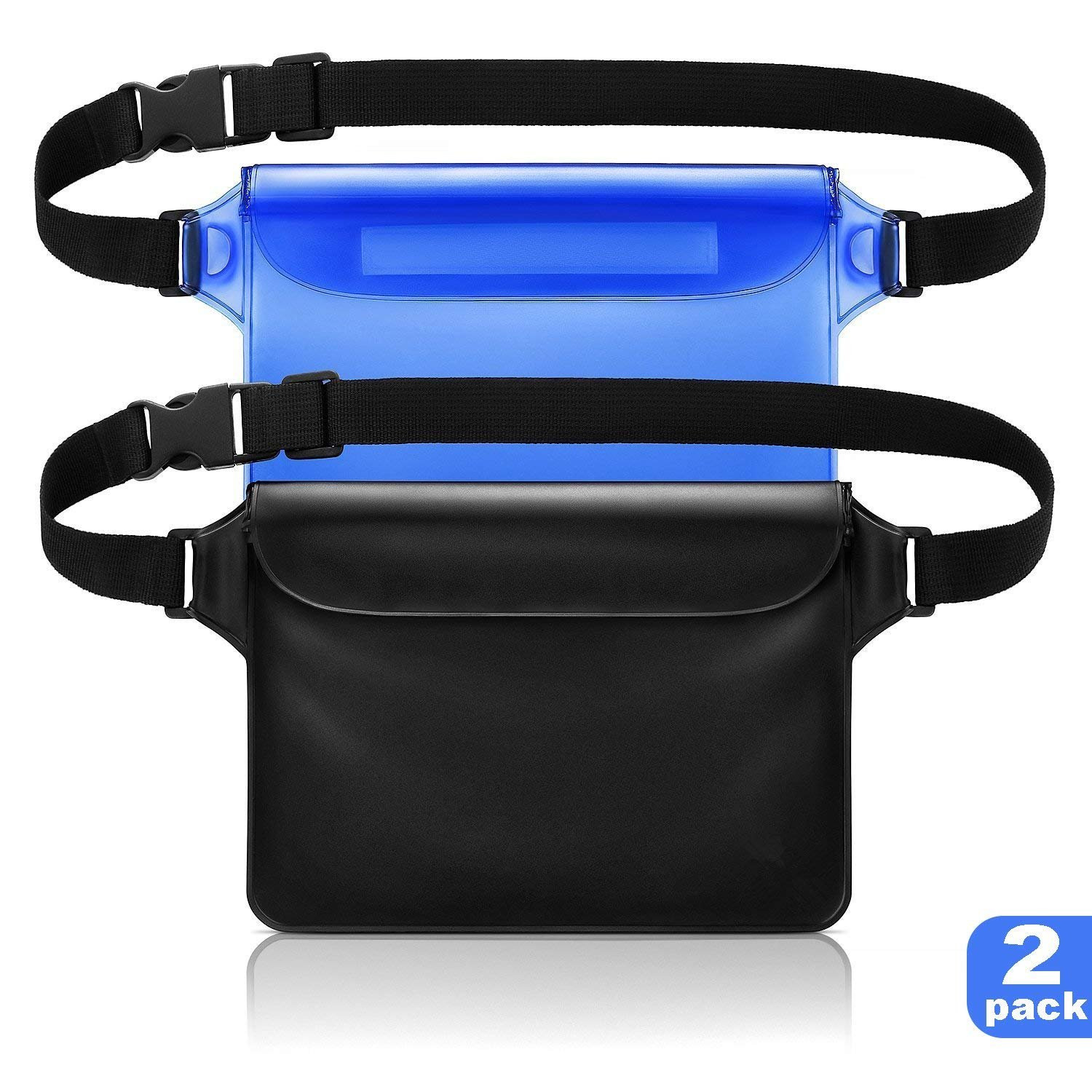 Cuzmak Waterproof Pouch with Waist Strap, 2 Pack the Most Durable # Super Lightweight Waterproof Phone Case/Wallet, Perfect for Kayaking Beach Pool Water Parks Boating Snorkeling Swimming and Fishing