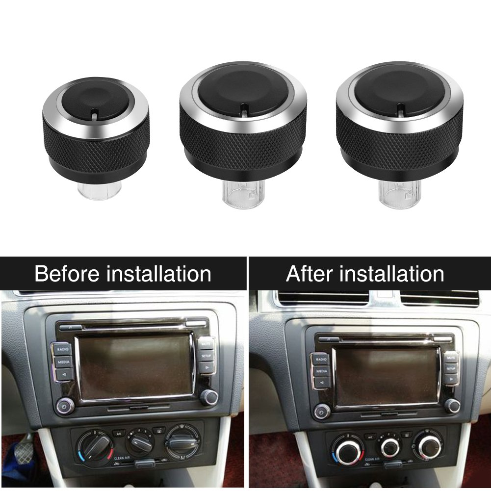 3Pcs Car Air Condition Heater Control Panel Switch Aluminum Control Dash Knobs Buttons Switch Replacement