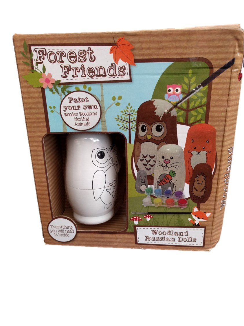 Paint Your Own Woodland Russian Dolls Forest Friends 5 Nesting Doll in one