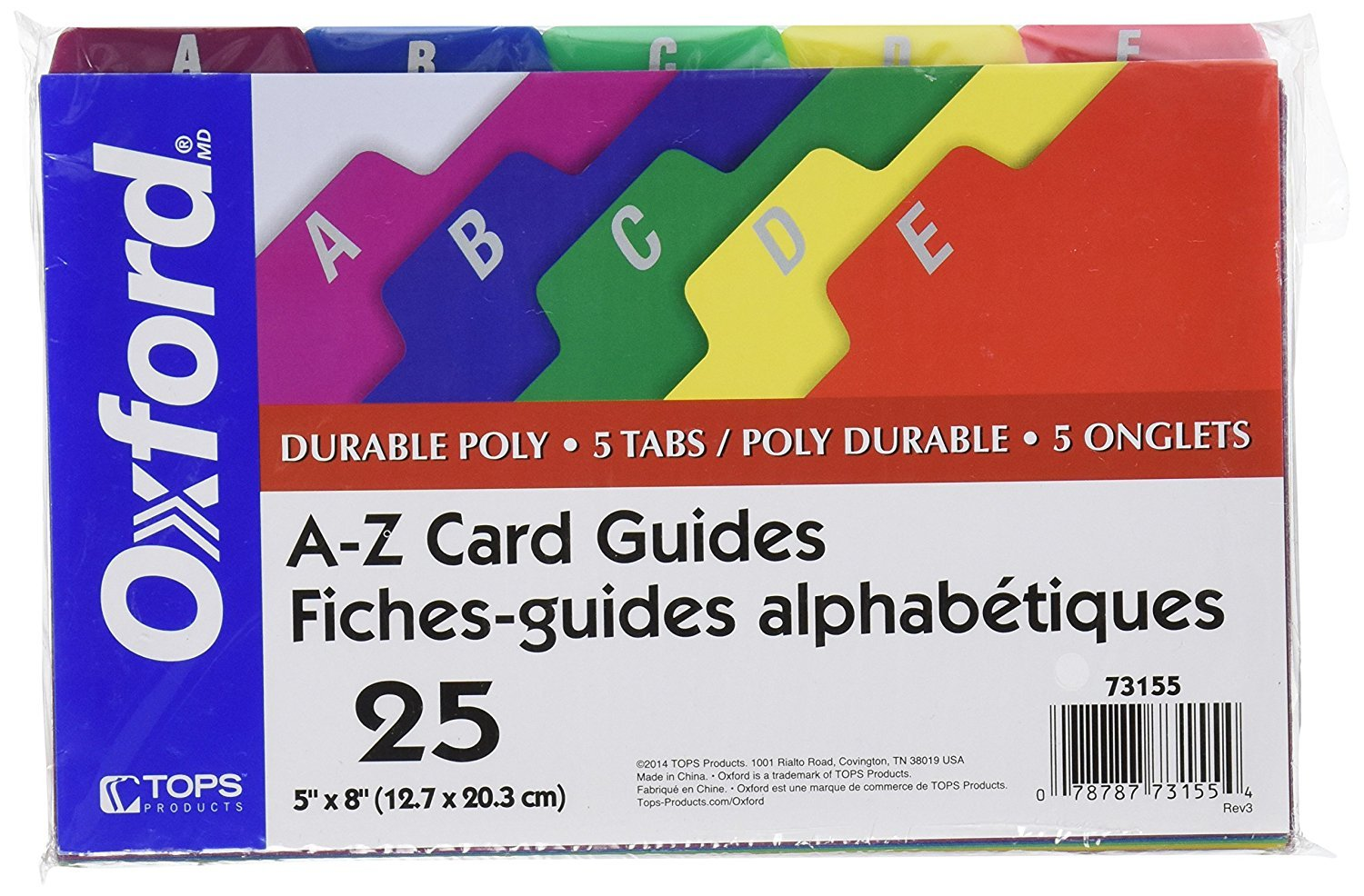 Oxford Poly Index Card Guides, Alphabetical, A-Z, Assorted Colors, 8'' x 5'' Size, 25 Guides per Set, Sold as 2 Sets, 50 Guides Total (73155) by Oxford