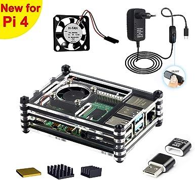 Jun_Electronic para Raspberry Pi 4 B Caja con Ventilador, 5V 3A ...