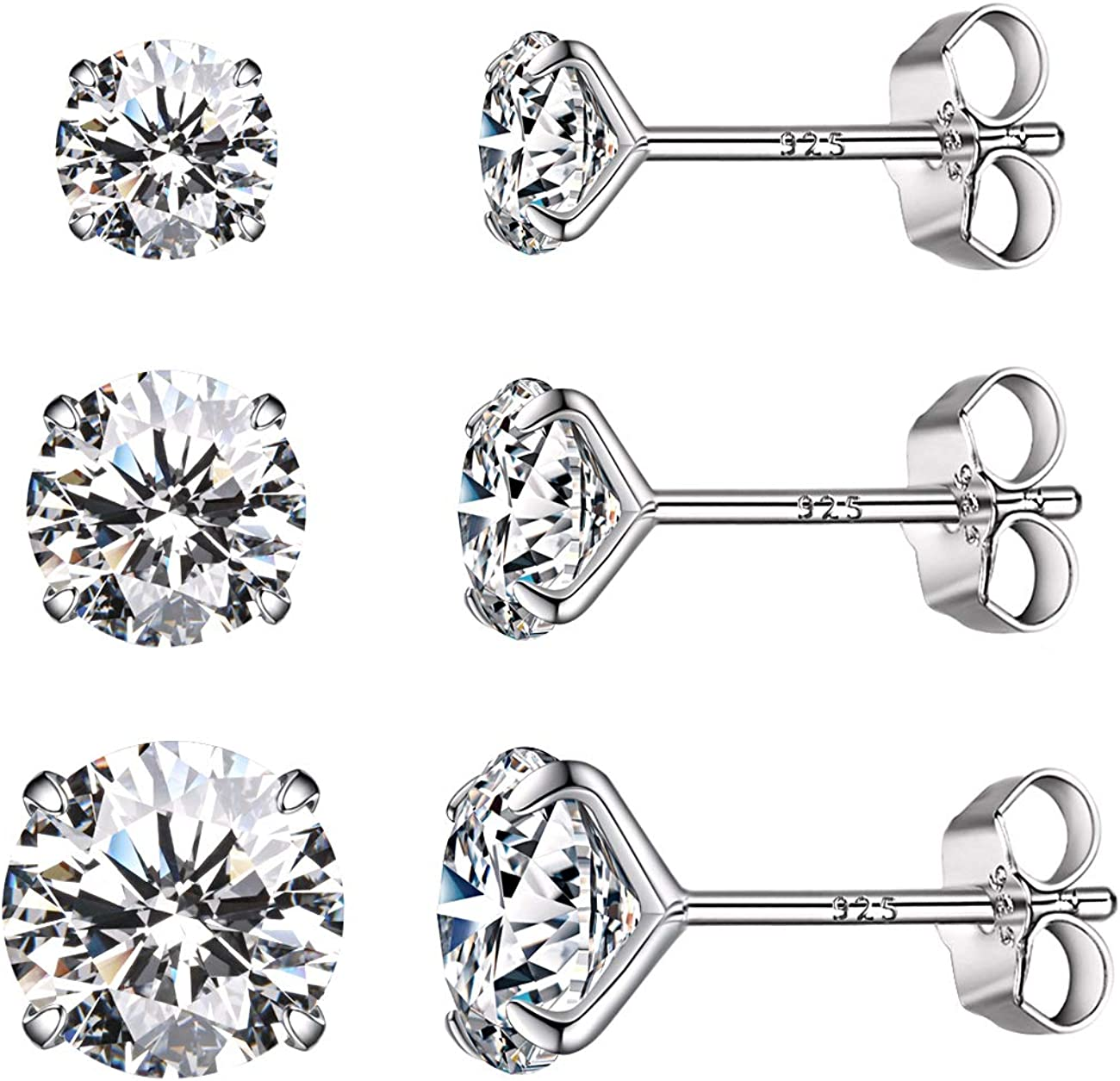 ELANZA Stud Cubic Zirconia CZ Earrings for Women Sterling Silver 2 Ct
