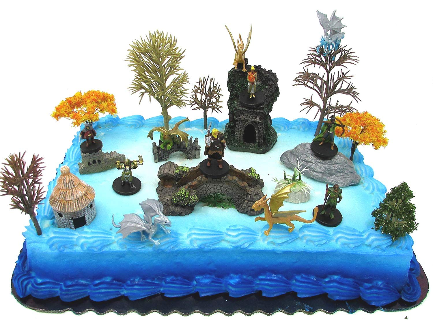 Dungeons & Dragons Deluxe Birthday Cake Topper Set Featuring Dungeons and Dragons Miniature Figures and Decorative Themed Accessories